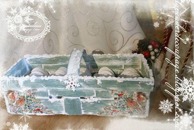 Lavenderia - decoupage i inne: Koszyk zasypany śniegiem