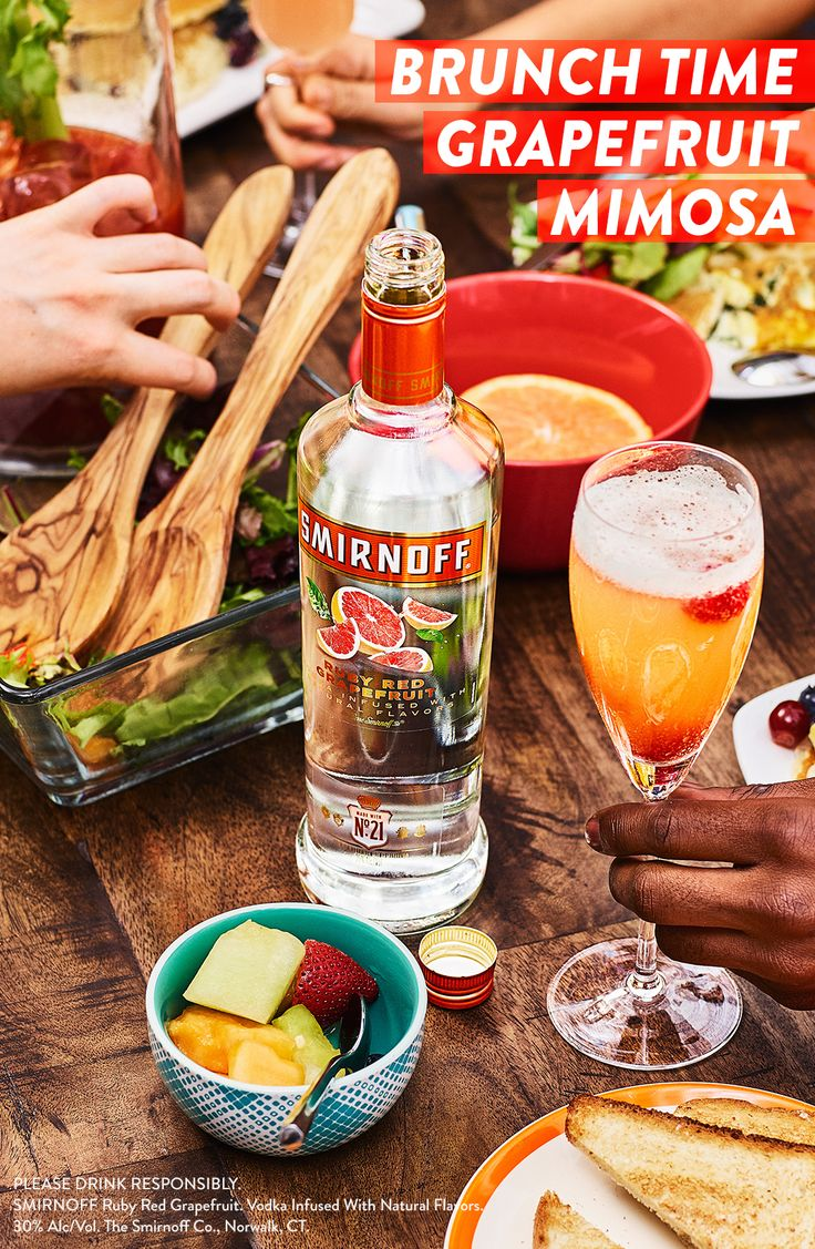 Looking for an easy, yummy, pre-evening cocktail? Smirnoff Grapefruit flavored vodka, grapefruit juice, and Champagne go together like breakfast and lunch — deliciously! Whip up the Brunch Time Grapefruit Mimosa, garnish with raspberries, and brunch like you mean it. #RECIPE: (Serves 6-8) 1 cup Smirnoff Ruby Red Grapefruit, 1 cup champagne, 3oz of grapefruit juice and a raspberry garnish.