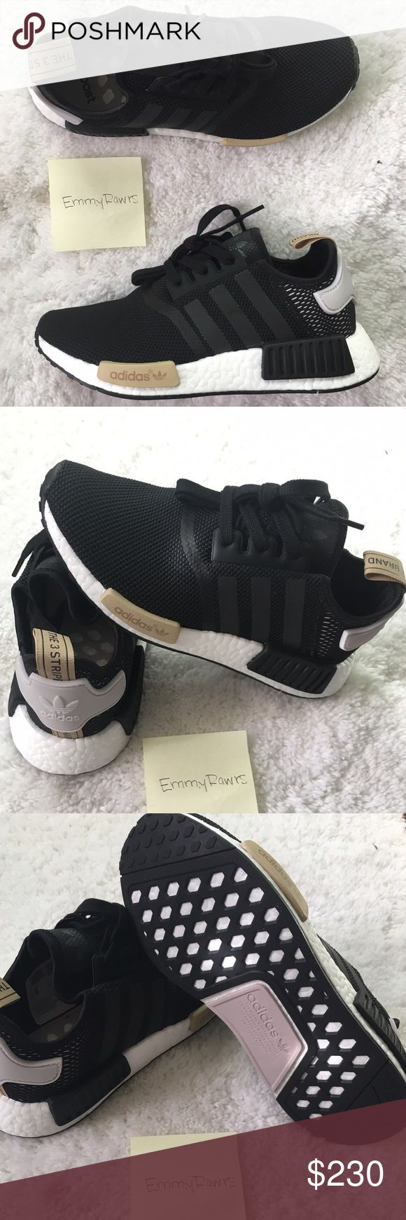 $200 • New Adidas NMD R1 Black $200 via Merc, vinted or (P). New Women Adidas NMD. Featherweight sneakers with the adidas boost cushioning. Upper is made of suede and neoprene which makes these. Also have EVA foam plugs which provides more comfort for the underfoot. Have the classic 3 stripes. Striped are reflective! Will come with original NMD box. Size 6, 7, 7.5 in women's are available. #adidas #NMD #boost #women #yeezy #superstar #stansmith #salmon #cream Adidas Shoes Sneakers