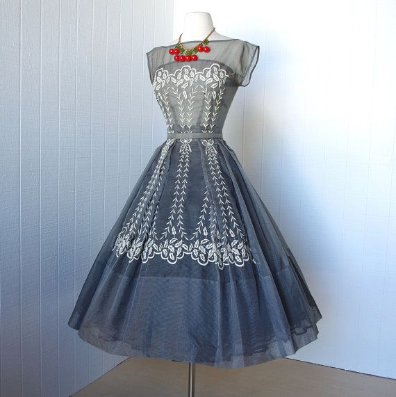 1950's Paul Sachs Embroidered Gingham Dress