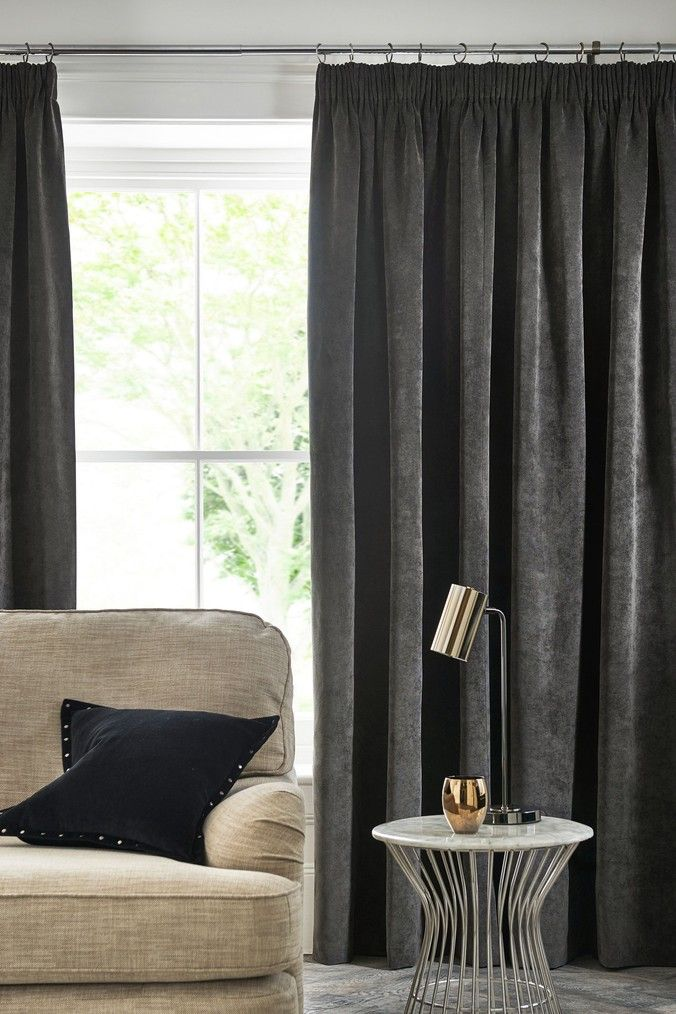 Next Soft Velour Eyelet Lined Curtains Grey Curtains Lined Curtains Grey Velvet Curtains
