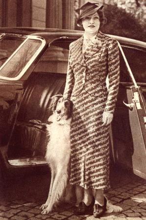 """1937: """"Klasický model hedvábného kostýmku, které se šijí v přísném tvaru pánského saka (model Nehera)"""""""