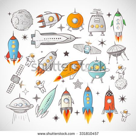 Collection of sketchy space objects isolated on white background.. Space ships, rockets, space shuttle, planets, flying saucers, astronauts etc. - stock vector