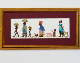 African Ladies with baskets counted cross by HannesNeedlecraft