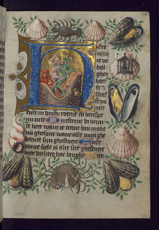 Illuminated Manuscript, Van Alphen Hours, Initial H with Souls cast into Hellmouth, Walters Manuscript W.782, fol. 113r | par Walters Art Museum Illuminated Manuscripts