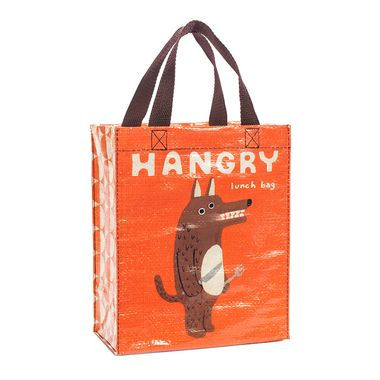 Our Hangry Handy Tote features a fork + knife wielding big bad wolf that's going to huff and puff, and swallow your lunch down!