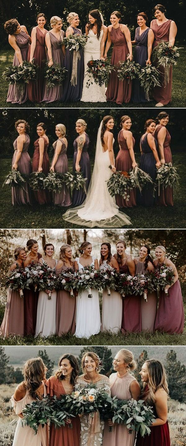 Earth Tones wedding ideas mix and match bridesmaids in