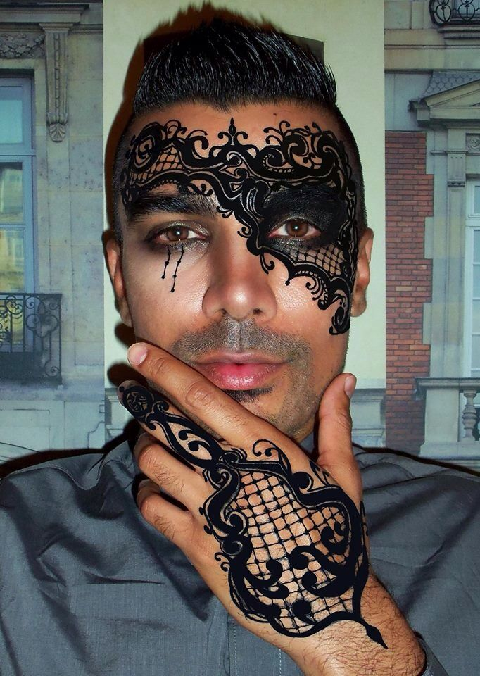 Suliman Nawid- Venetian inspired opera mask using MAC acrylics black