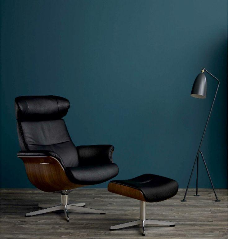 Relaxsessel | moderner Klassiker | Leder | Nußbaum-Sitzschale | schwarz - bei Möbel Morschett