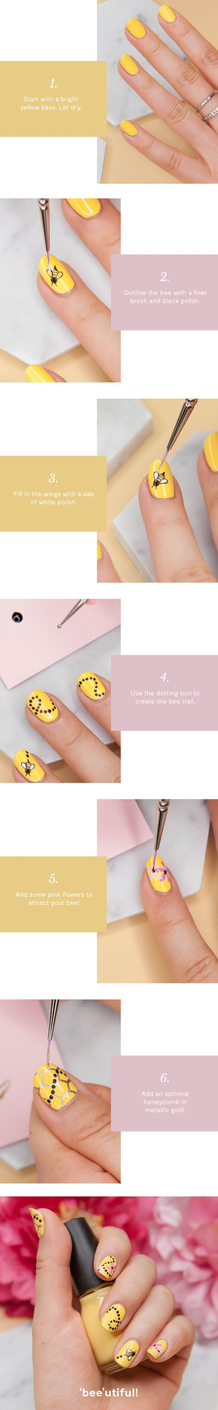 What's all the buzzz about? This DIY nail art, of course! It makes the perfect complement to any spring ensemble.