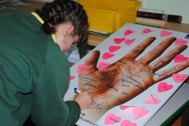 """When I was at school, I used to write things I needed to remember on my hands. I'm sure you did too. And students still do it. This activity encourages students to write their names on a giant laminated hand, in response to the Christian belief that God has our names written on his hands. This activity is about wanting to be known by God. """"I have written your names on the palms of my hands."""" Isaiah 49v16"""