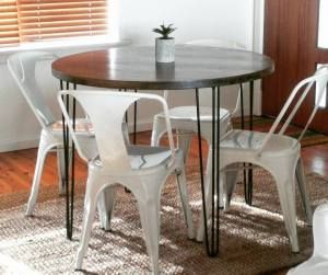 Round Hardwood Dining Table with fabricated steel hairpin legs