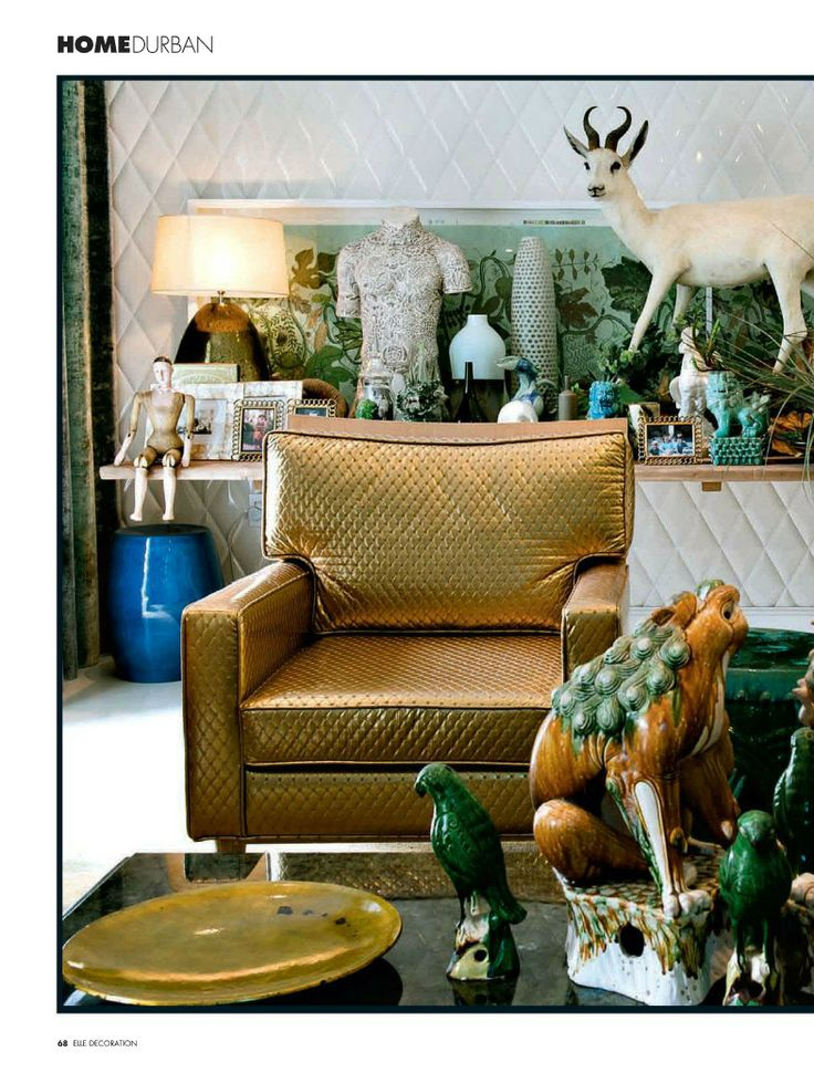 Eclectic Style Living Room In Jade Green And Copper Featured AD Spain