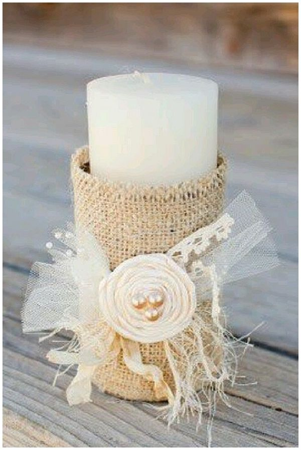candle with burlap and flowers hessian wedding ideas