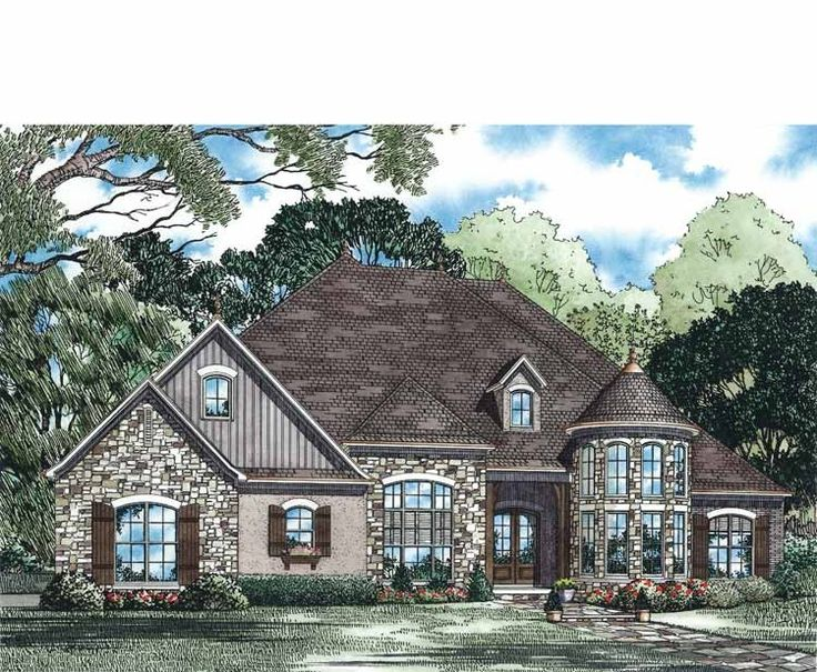 Home Plan Is A Gorgeous 3052 Sq Ft, 1 Story, 4 Bedroom, 3 Bathroom Plan  Influenced By + French Country Style Architecture.