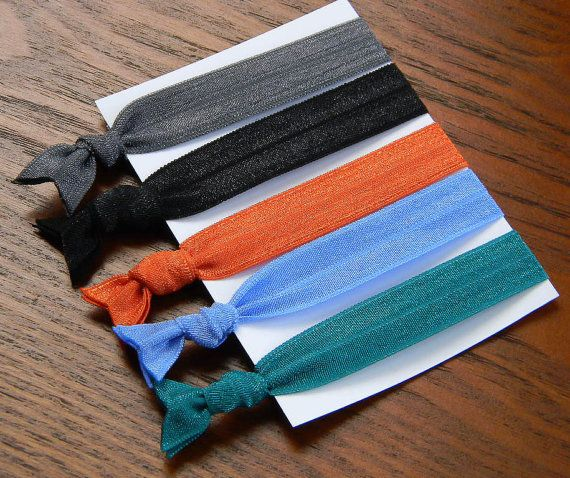 Elastic Hair Ties: TRENDY Fall Fashion Collection - Gentle Hairties for Ponytails & Wrists in Gun Metal, Black, Orange, Blue, Peacock  $6.25