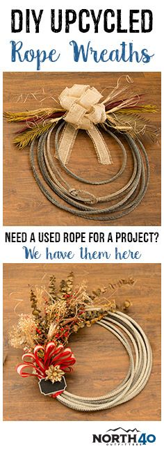 Here are a couple fun wreaths to feature around your home using upcycled old ropes.