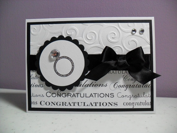 Engagement Card | Wedding Card | This card is nicely embellished.  With the exception of the congratulations paper, I think I already have most of these things.