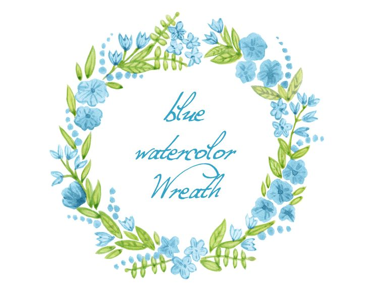 Digital Clipart 'Blue Watercolor Wreath' ................................................ by SwiejkoForPrint (Etsy)