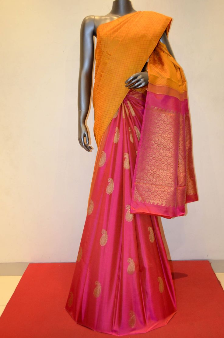 Stylish Mustard With Pink Patli Kanjeevaram Silk Saree Product Code: AB209916 Online Shopping: http://www.janardhanasilk.com/Saree-Collections/Kanjeevaram-Silk-Saree?product_id=3242&limit=25