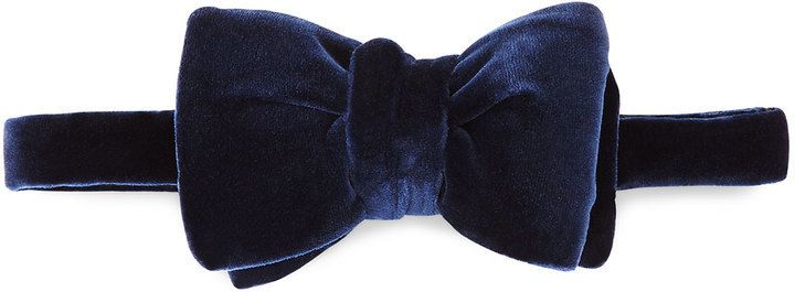 $250, Tom Ford Solid Velvet Bow Tie Navy. Sold by Neiman Marcus. Click for more info: https://lookastic.com/men/shop_items/402557/redirect