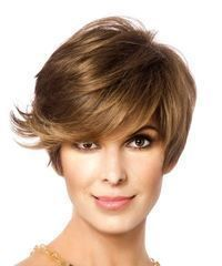Short, straight, formal hairstyle with side bangs - light brown hair color  - Hairstyle Straight Homecoming - #bangs #Brown #Color #formal #hair