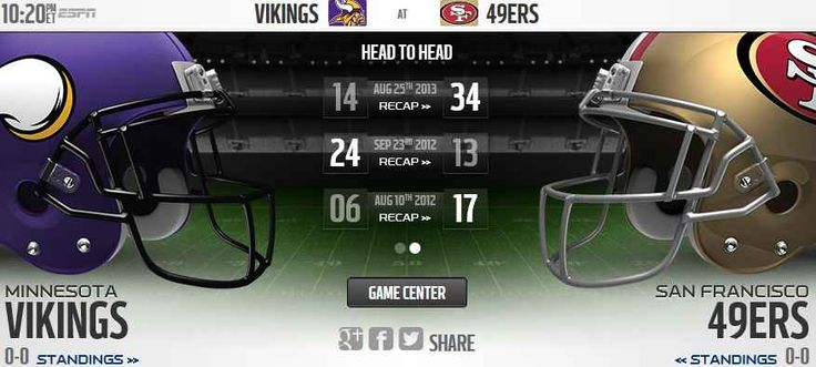 The Minnesota Vikings will play host to the San Francisco 49ers Live Stream Football Game Online on Monday 13th Sep, in Week 1 of the NFL 2015 Regular season. Tonight Football game Streaming TV sho...