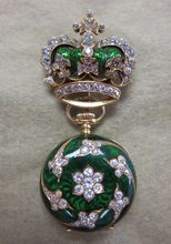 Antique Lady's 18K Gold, French Enamel & Diamond Encrusted Watch Holder & Watch www.rubylane.com