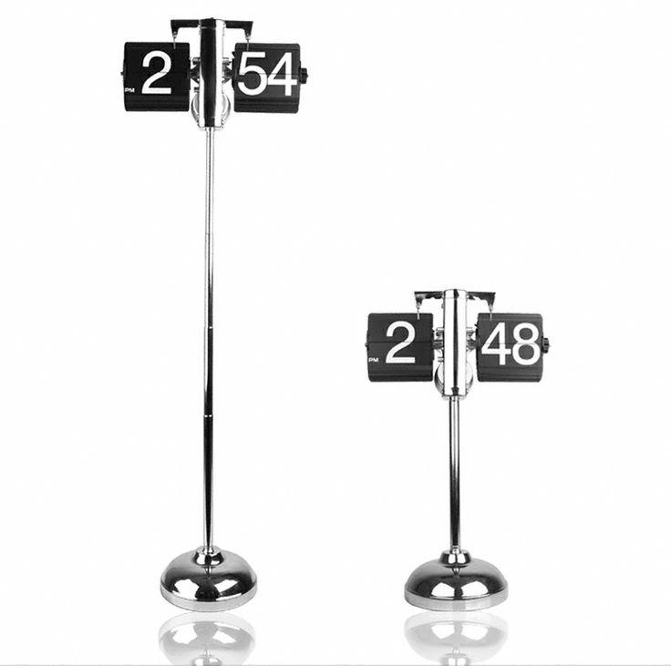 Retro Flip Down Clock: Adjustable height, gear operated, metallic flip down  clock.
