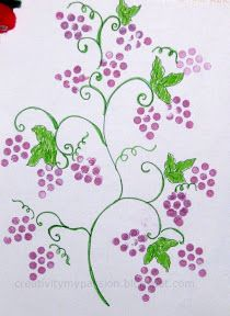 Bundle up pencils to form a Grape bunch and stamp a Grape vine art