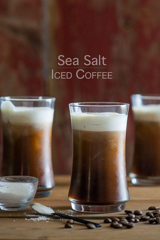 Sea Salt Iced Coffee Recipe with Sea Salt Cream from @whiteonrice Coffee drinks, coffee lover, coffee recipes