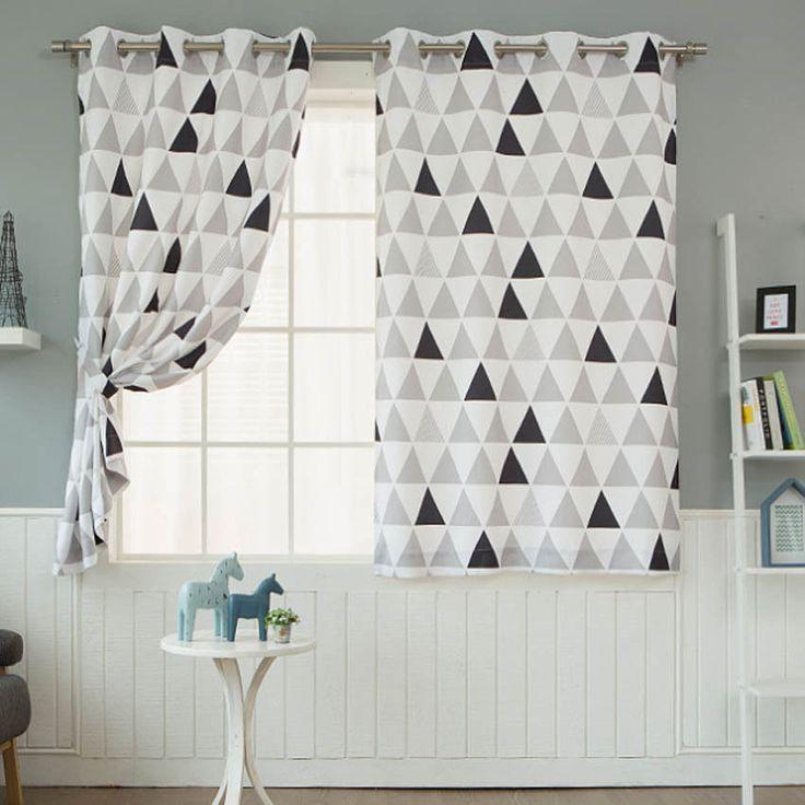"""Geometric Blackout Curtains Scandinavian Eyelet Grommet 102""""W X 67""""H Pair 1Set #Handmade #ModernScandinavian"""