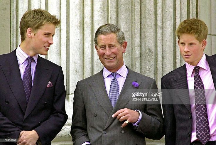 Prince William, Prince of Wales and Prince Harry on the balcony of Buckingham Palace 04 August 2000, during Queen Elizabeth, The Queen Mother 100th Birthday celebrations in London.