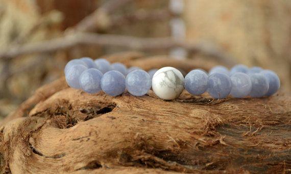 Ocean Blue Soothing Aquamarine Bracelet  Vegan Stretch