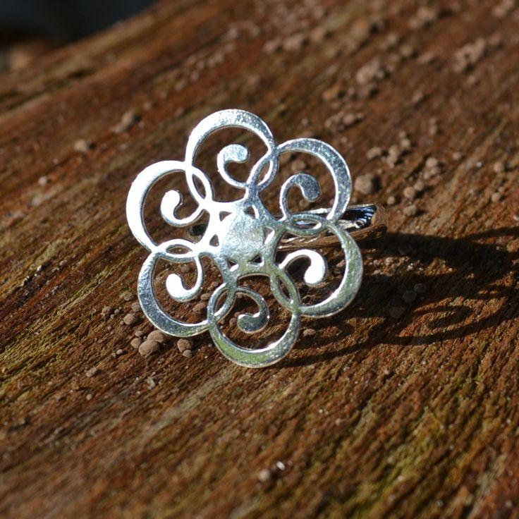 Verstelbare ring van zilver 950 met mandala design  Lengte: 2,5 cm Gratis verzending in Nederland