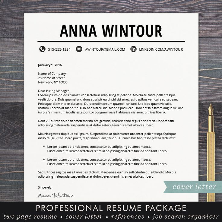 cover letter examples massage therapist%0A Resume Template  CV Template for Word  Mac or PC  Professional Resume  Design  Cover Letter  Creative  Teacher  The Wintour