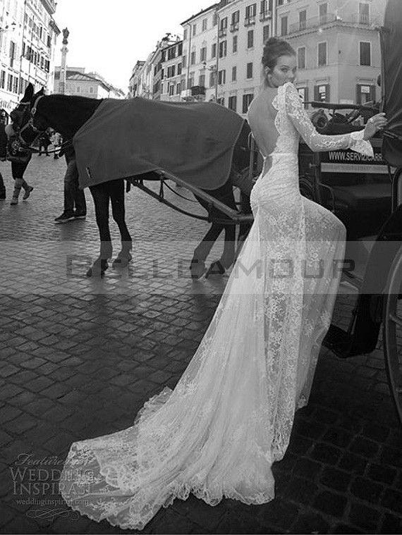 Robe de mariée Dentelle Dos Nu Sexy Longue Perles Col V