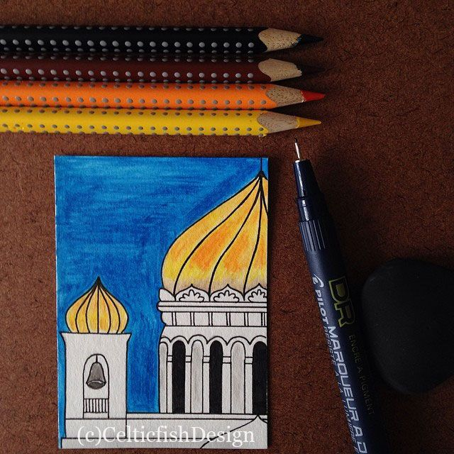 """""""Church"""". ACEO. Watercolor pencils and ink."""