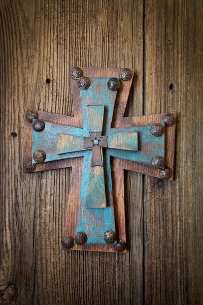 Trinity Wood Wall Cross Turquoise and chocolate patina Measures about 11 x 13 inches