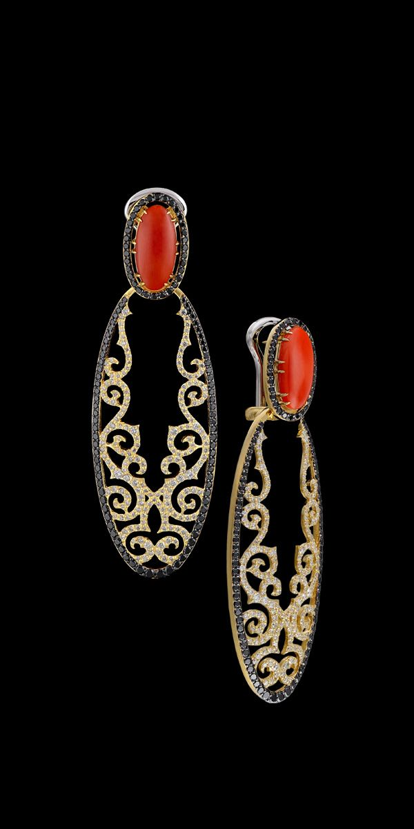 """RP:  Yellow Gold Coral """"Day and Night"""" Diamond Earrings - masterexclusive.com"""