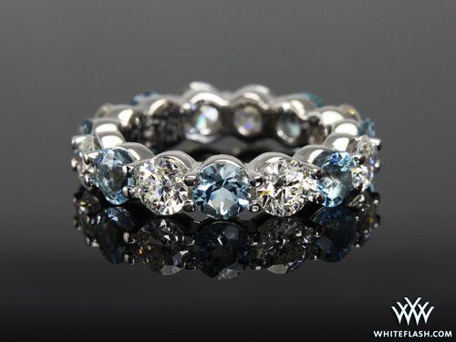 Eternity Diamond and Aquamarine Wedding Band. I love diamonds and aquamarine (my birth stone)