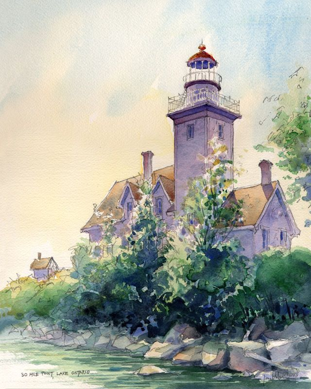30 Mile Point Lighthouse . watercolor illustration