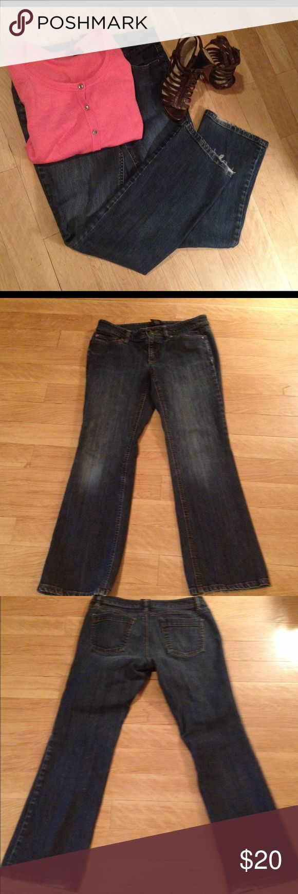"""Awesome Ann Taylor Curvy Jeans These jeans are distressed on knees and frayed at the bottom giving them the look of classic comfort and distressed style. You'll love the curvy fit and the feel of the jeans. 29""""inseam 16""""waist flat 7""""rise Ann Taylor Jeans Boot Cut"""