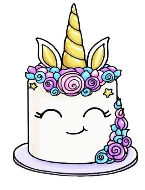 Afbeeldingsresultaat Voor Cute Cake Kawaii Kleurplaat Eenhoorns In