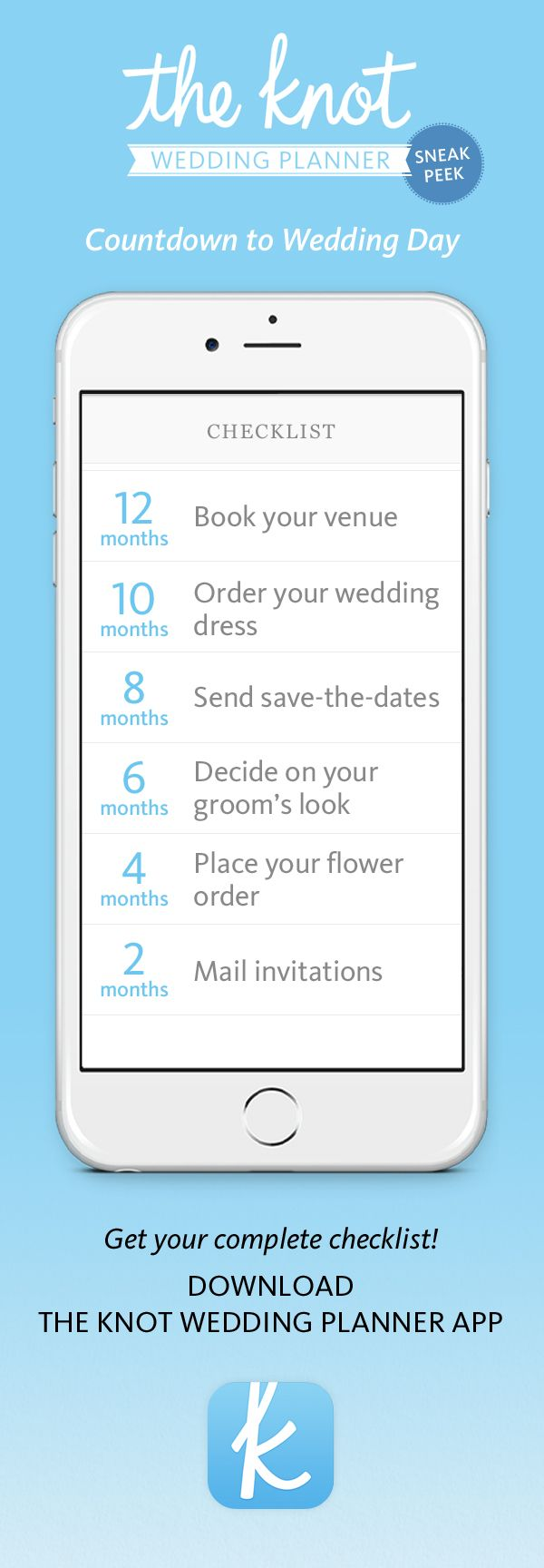 While you're counting down the days to your wedding, make sure you don't miss any details! Check out The Knot's Planner App - a one stop shop for all wedding planning tools you need!