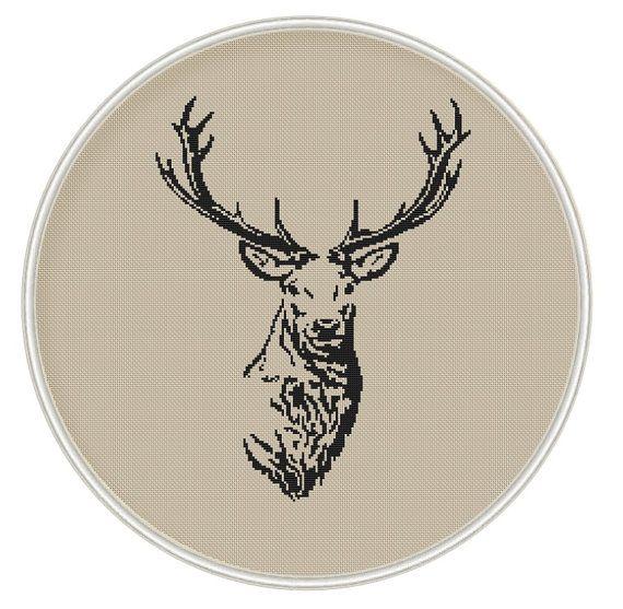 Deer (big size) Сross stitch pattern, PDF cross stitch, Instant Download, animal cross stitch - MCS050