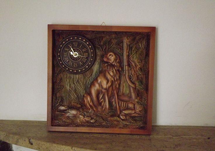 orologio Rustico da parete muro in legnio intaglio caccia Wooden  clock carving