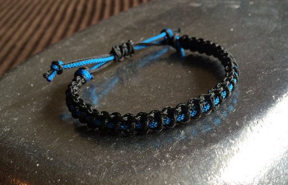 Thin Blue Line Micro Cord Bracelet by DearCrazywithLove on Etsy