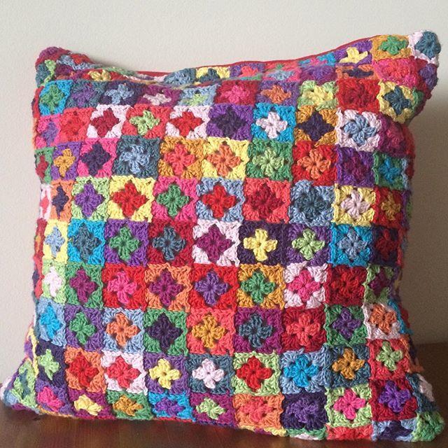Mini Granny square crochet cushion