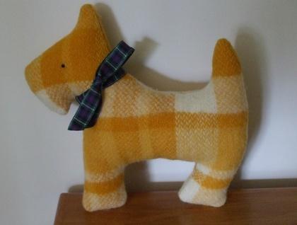 Jock Scottie Dog Up-cycled Woollen Blanket Soft Toy